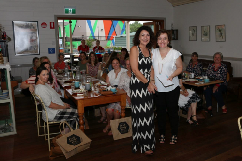 Carol Bagaric with Council's Fiona Adams in front of the Women in Business participants.