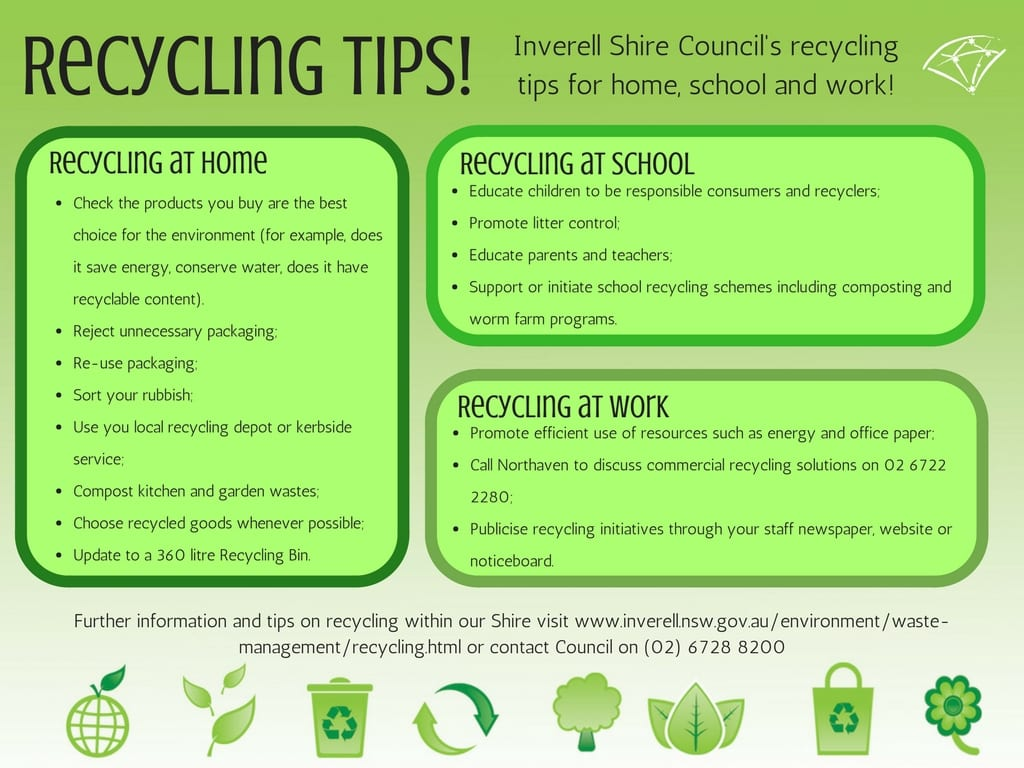 Recycling Tips Inverell Shire Councilinverell Shire Council