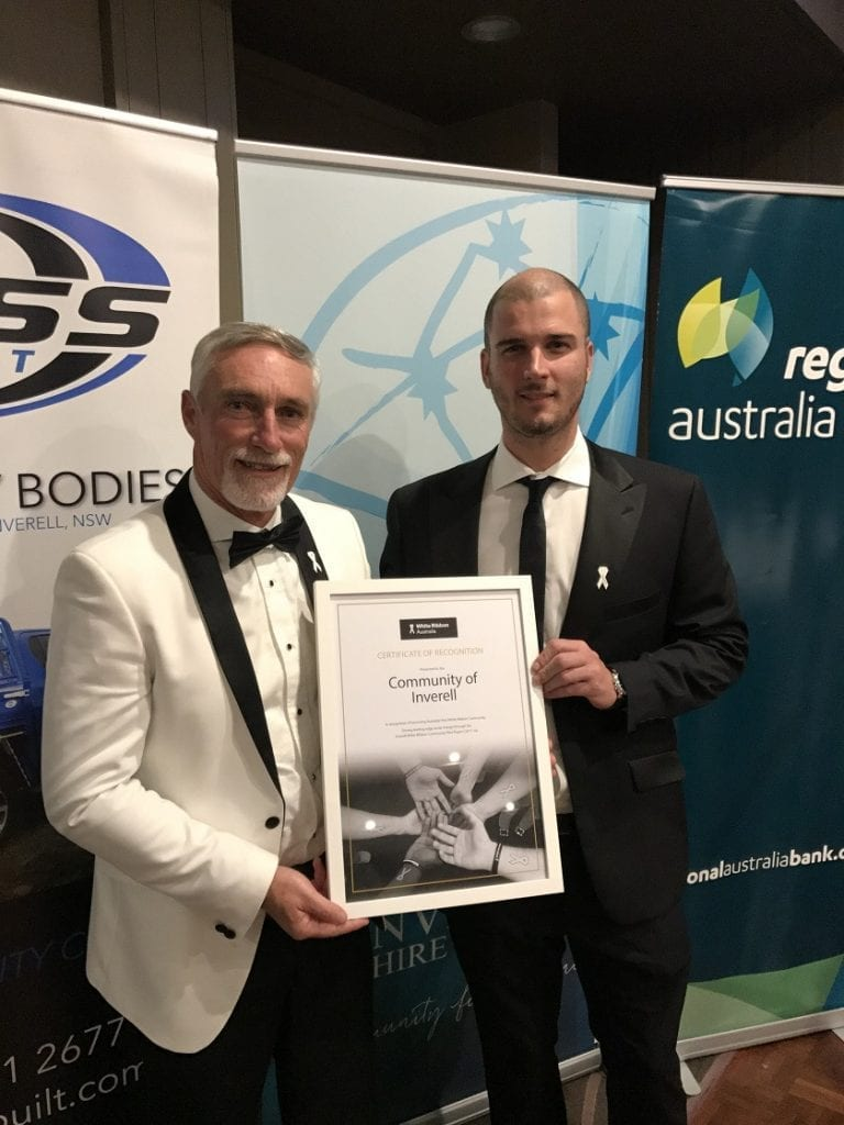 Inverell Shire Council's Mayor, Paul Harmon and Liam Dooley the Executive Manager of Committees & Community Development from White Ribbon Australia