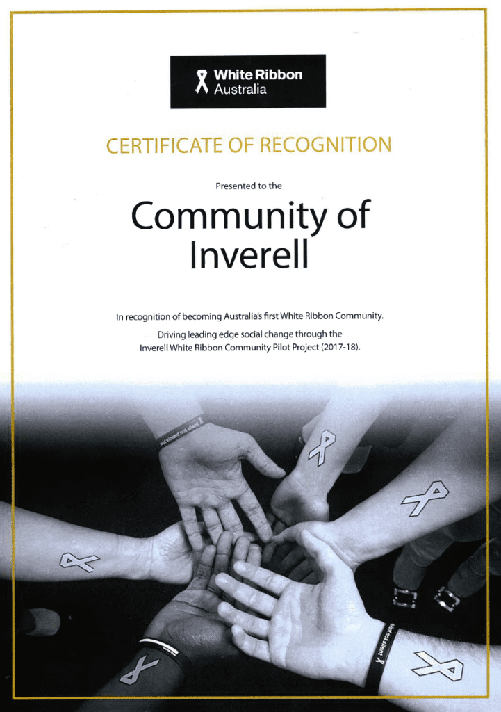 White Ribbon Australia's Certificate of Recognition - Community of Inverell