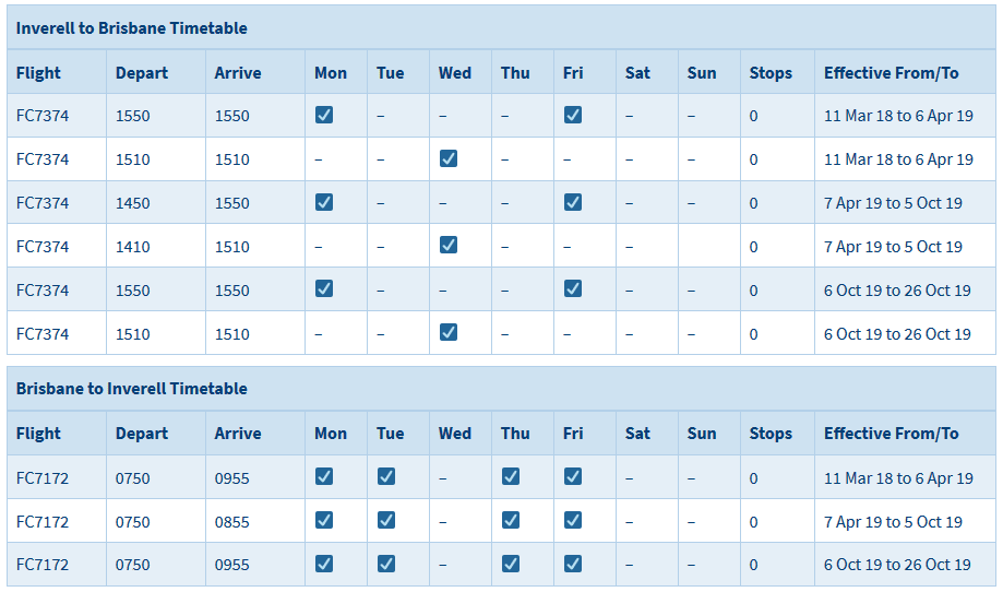 Inverell to Brisbane Timetable - Click to view in web browser