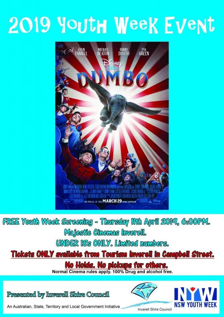 Youth Week Movie Screening: Dumbo - 11th April 2019, 6pm - Inverell Cinema