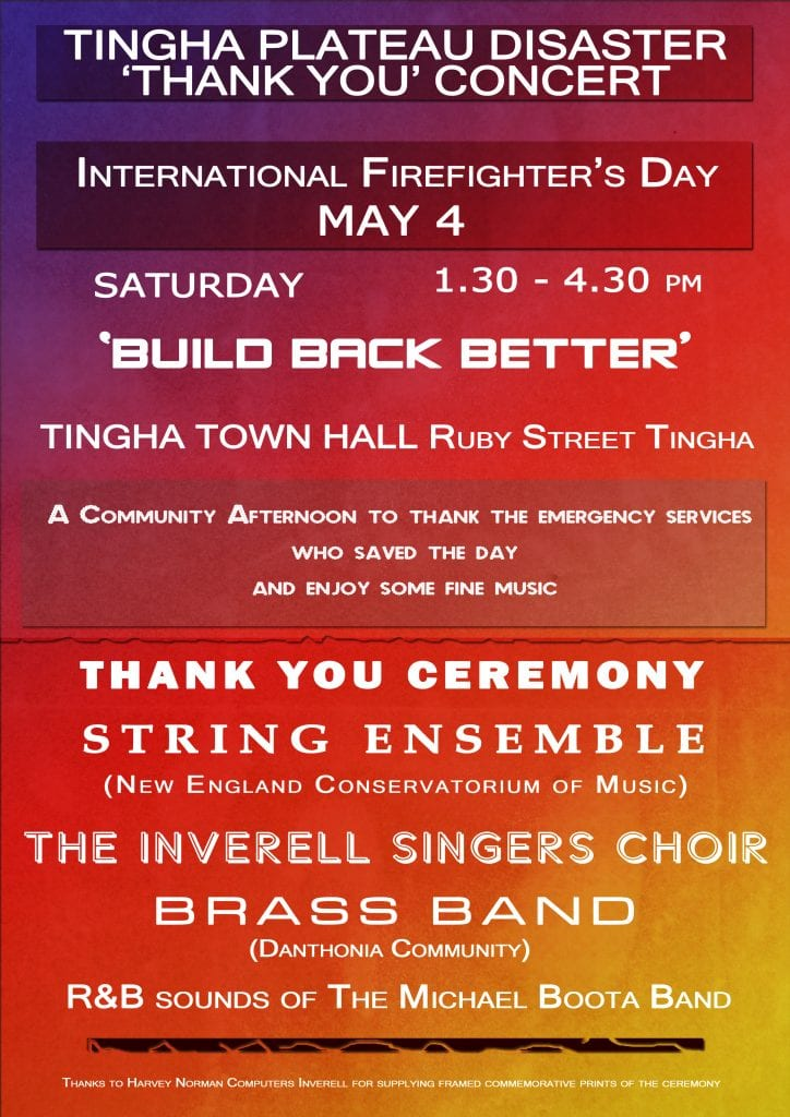 Tingha Disaster Thank you Concert - 4 May 2019 - 1:30pm - Tingha Town Hall