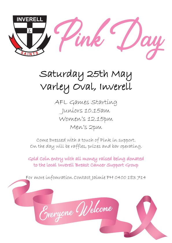 Inverell Saints Pink Day - 25 May 2019, 10am - Varley Oval
