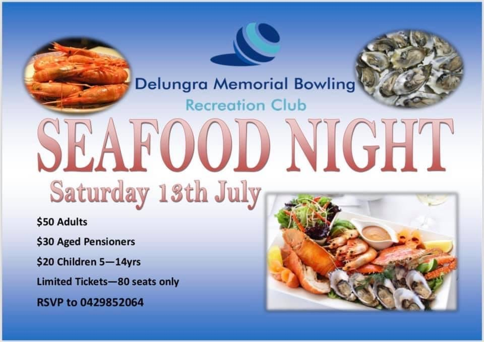 Delungra Memorial Bowling Club Seafood Night, 13 July 2019