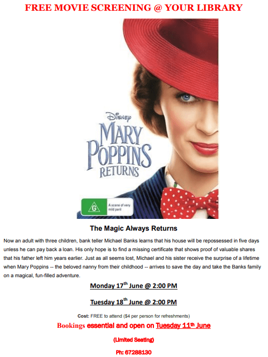 Library Movie Screening - Mary Poppins Returns - 17 & 18 June 2019, 2pm