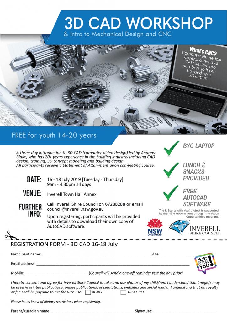 3D CAD Workshop for Youth Registration Form