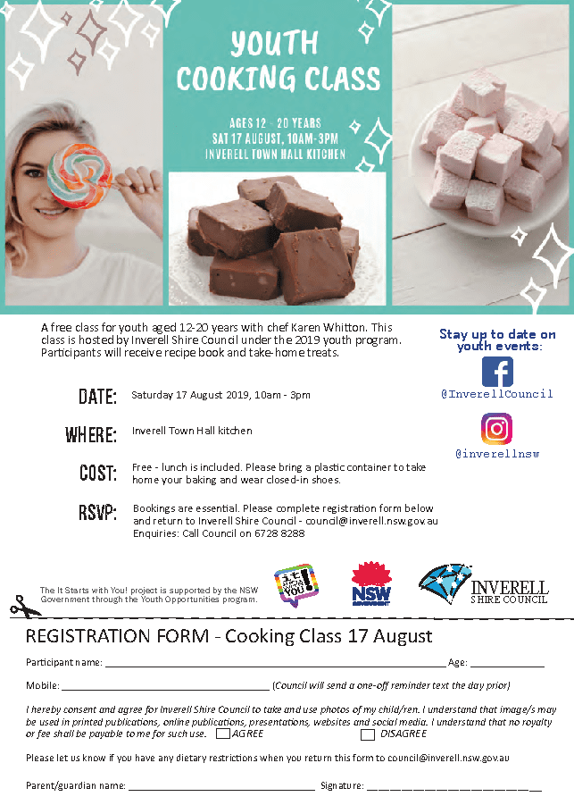 Youth Cooking Class - Registration Form - Click to download