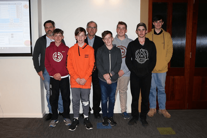Photo: Graduates from the recent 3D Computer Aided Design class with Andrew Blake and Deputy Mayor Anthony Michael.