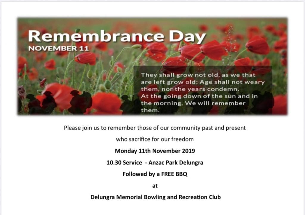 Remembrance Day at Delungra Bowling Club