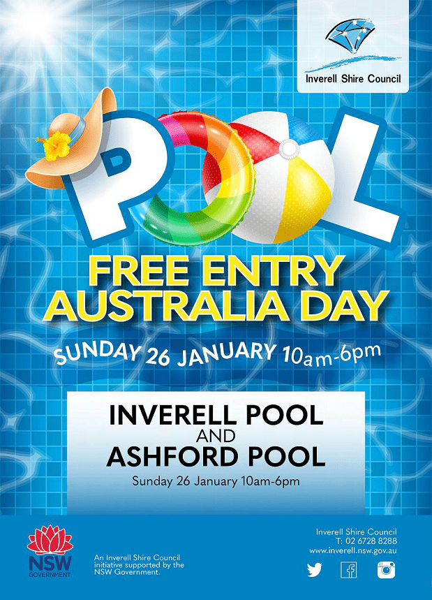 Image: Free entry will apply at Inverell and Ashford Pools on Sunday 26 January.