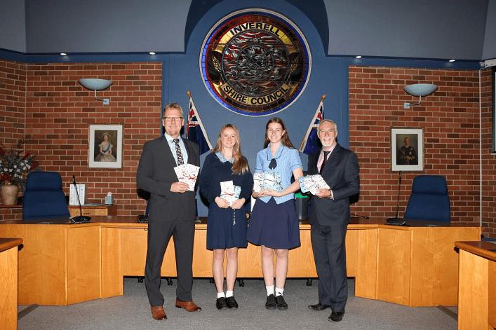 Image: L-R: Nigel Lynn, Head Teacher of Technology at Avondale School, Year 10 students Scarlett Mitchell and Sophie Lynn, Cr Harmon, Mayor