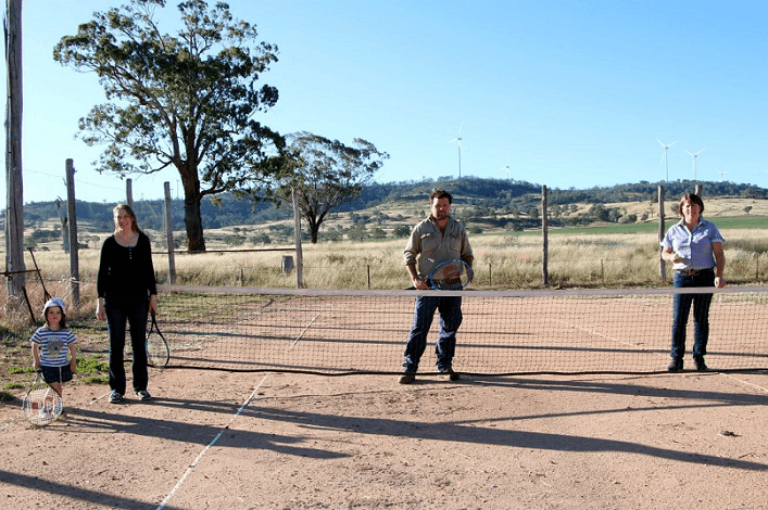 Image: L-R Taking to the courts at Swan Vale - little Anna Cameron with mum Vicky Cameron (club treasurer), president Phil Clayton and Lee Thompson.