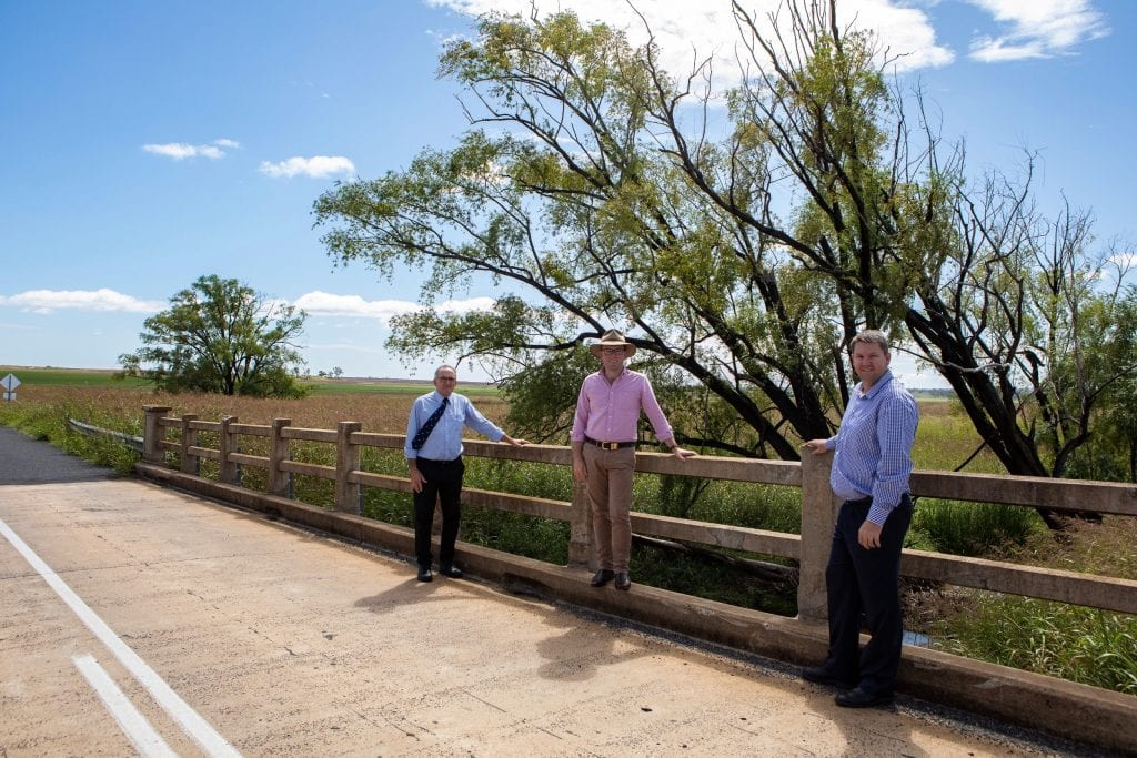 Photo caption: Inverell Shire Council Deputy Mayor Anthony Michael, left, Northern Tablelands MP Adam Marshall and Manager Civil Engineering Justin Pay on Yetman Road, which will soon undergo $3.7 million upgrade.