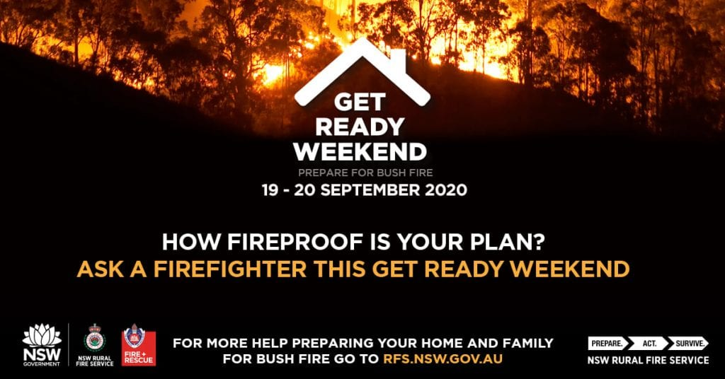 Get Ready Weekend urges residents to prepare a plan for bushfire.