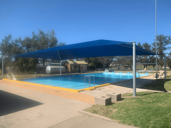Image: The new shade shelter covers approximately half of the main pool