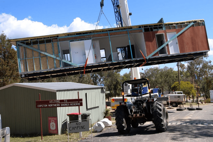 Image: The new kiosk and caretaker's residence was lifted into position earlier this week.