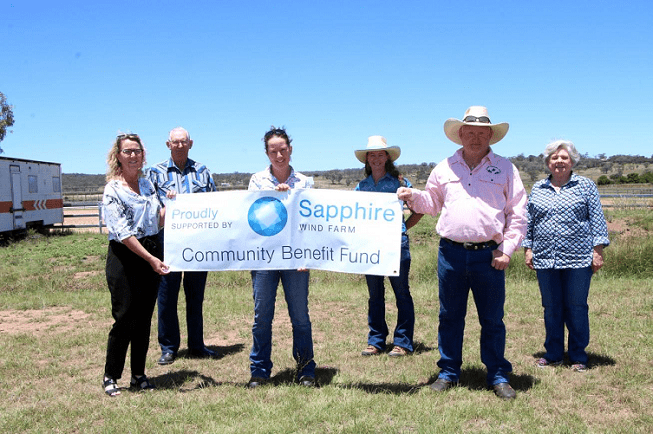 Image: L-R Equestrian Council members Kate Tighe, Ken Baker, Linda Buxton, Fran Fleming, Russell Hamel and Di Baker stand on the building site where works will soon commence.