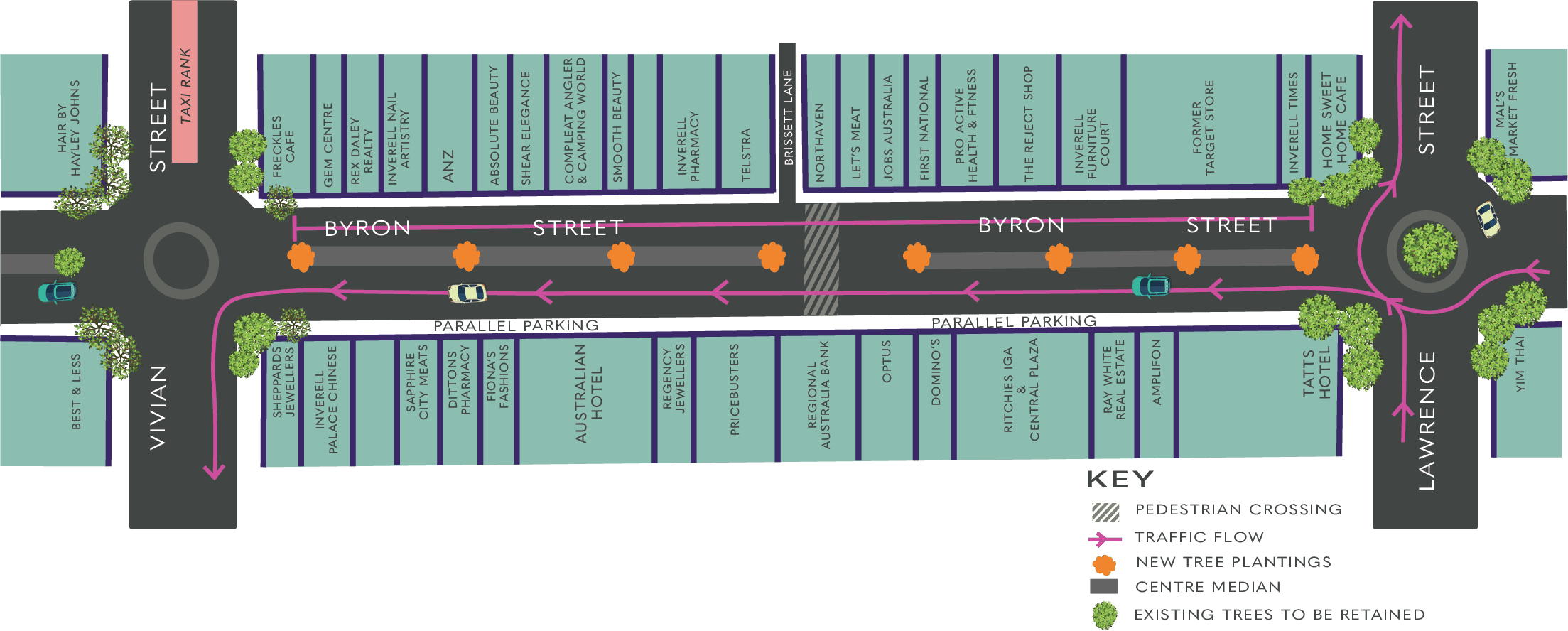 Image: Stage one traffic arrangements for the Town Centre Renewal Program, commencing 14 January 2021.