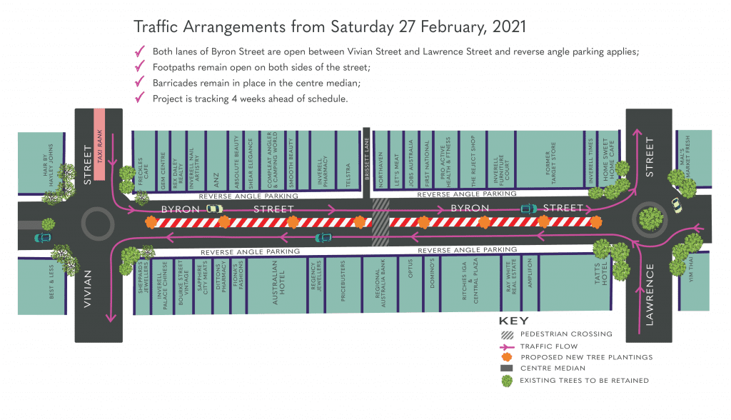 Image: Traffic arrangements for the Town Centre Renewal Program, commencing 27 February 2021. (Click to enlarge)
