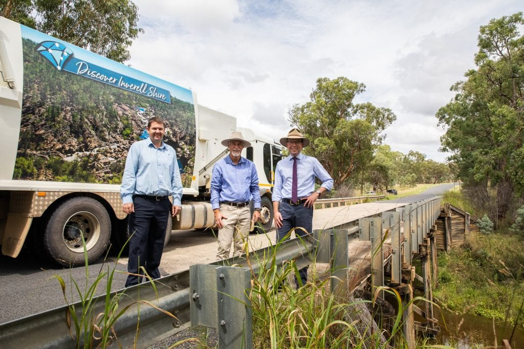 Image: The final timber bridge in the Inverell Shire – the 63-year-old timber Mathers Bridge over Frazers Creek at Nullamanna – will be replaced, thanks to a $1.83 million grant from the State Government, Inverell Shire Council's Manager Civil Engineering Justin Pay, left, Mayor Paul Harmon and Northern Tablelands MP Adam Marshall.