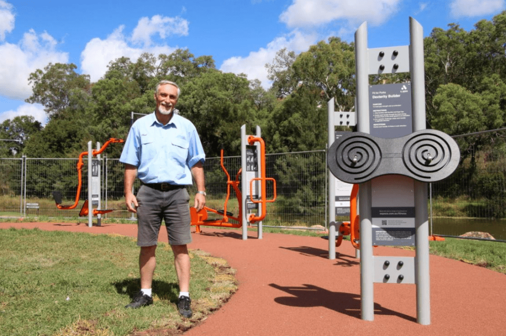 Image: The new outdoor gym in Campbell Park is now open to the public.