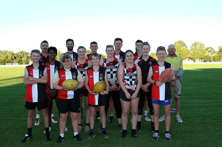 Image: The Inverell Saints are all geared up in their team colours, ready to conquer the 2021 AFL season after receiving a $6,300 financial contribution from the Sapphire Wind Farm Community Fund.